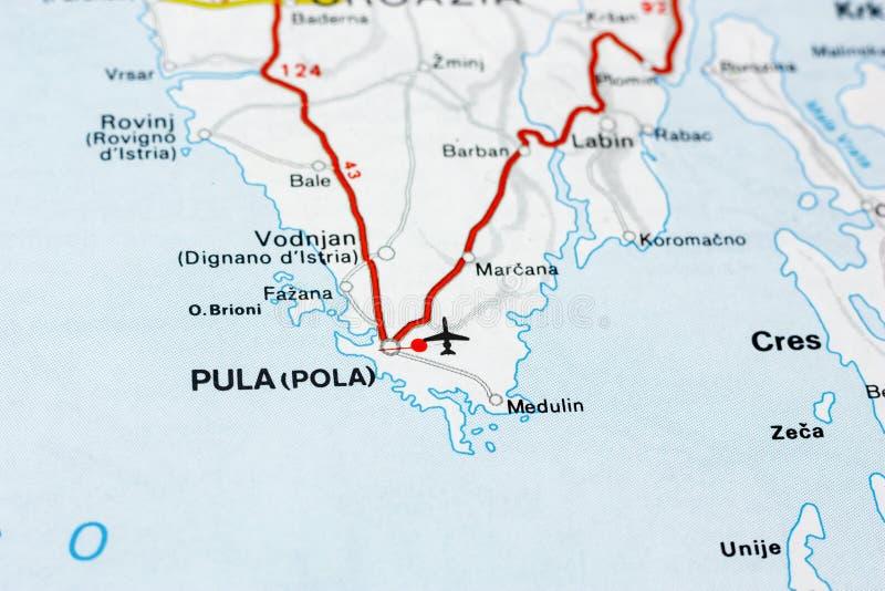 Geografisk översikt av Kroatien för europeiskt land med Pulastaden arkivfoton