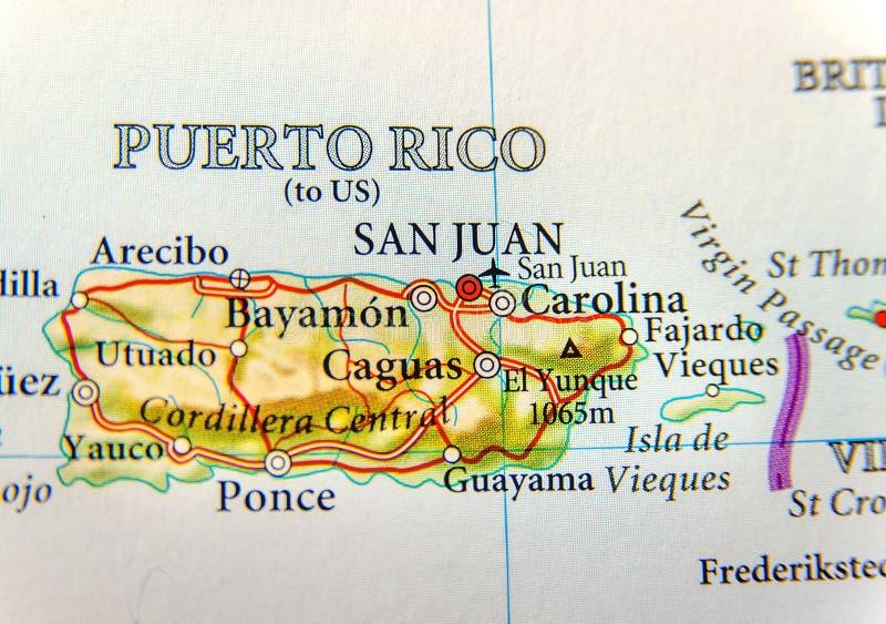 Geografisk översikt av Puerto Rico med huvudstad San Juan arkivbilder