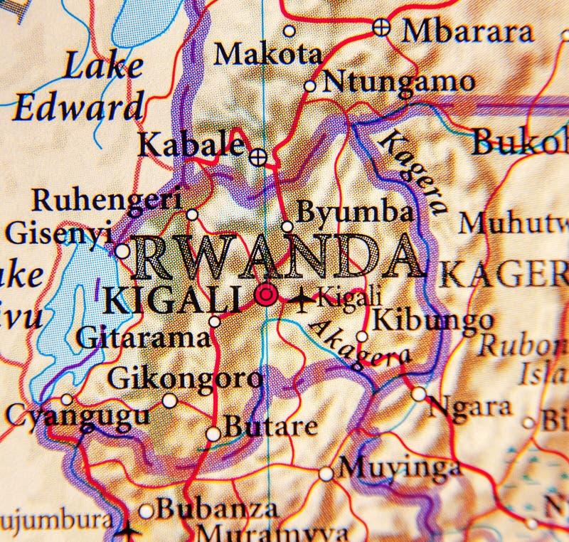 Geografisk översikt av Rwanda med viktiga städer royaltyfria foton