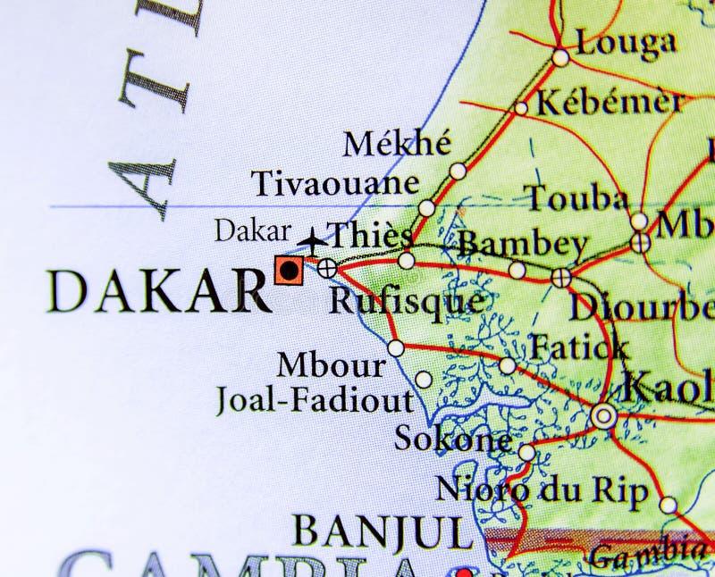 Geografisk översikt av Senegal med huvudstaden Dakar royaltyfria foton