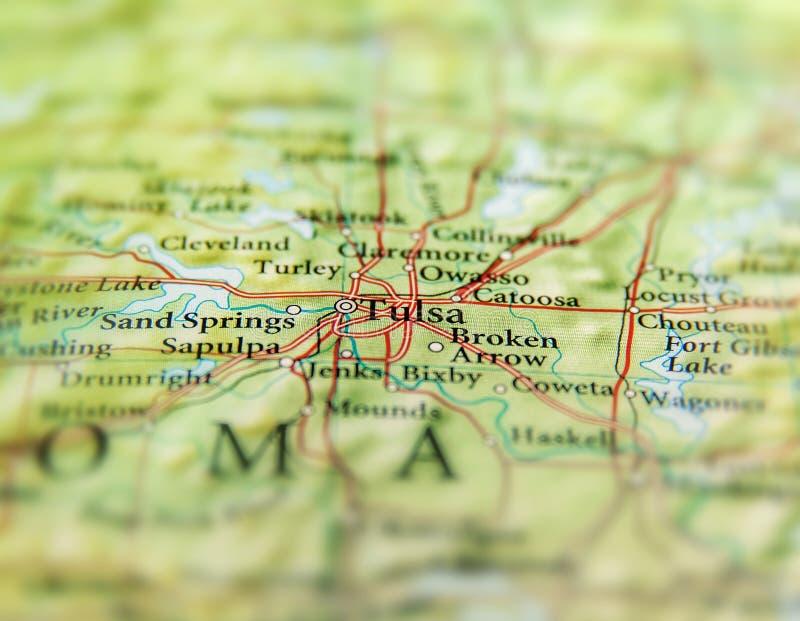 Geografisk översikt av slutet för USA-stat Oklahoma och Tulsa stads arkivfoto