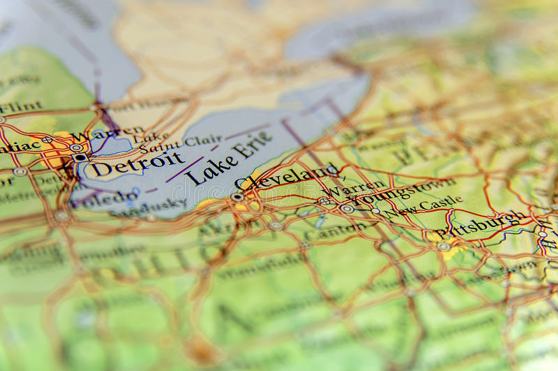 Geografisk översikt av USA-staden Detroit, Cleveland och nya Pittsburg c arkivfoton