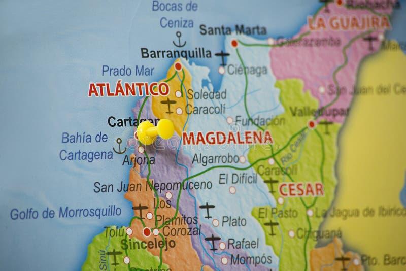 Geografiskt läge av cartagena Colombia arkivbild