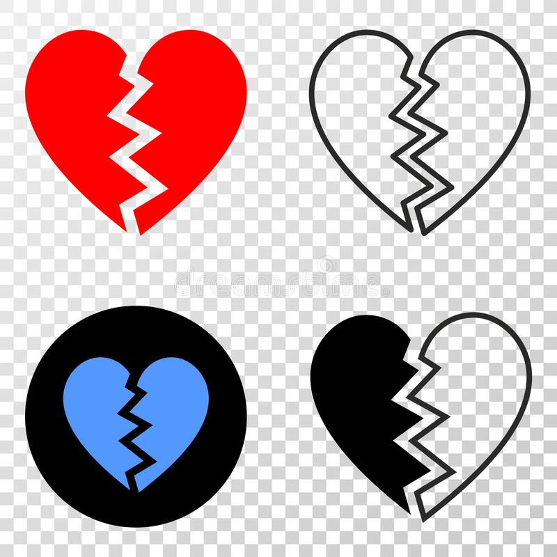 Composition of Gradiented Dotted Broken Heart and Grunged Stamp royalty free illustration