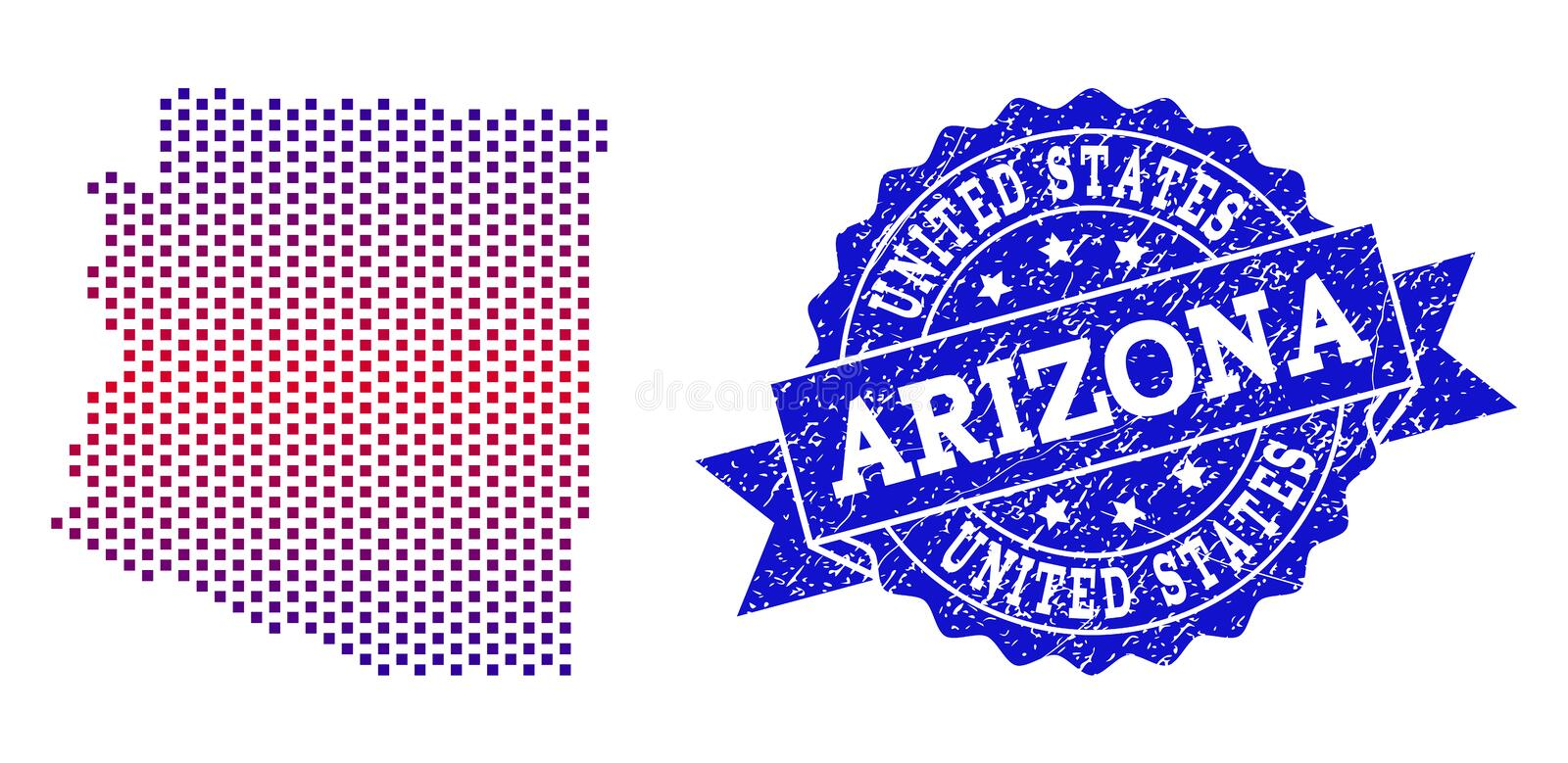 Composition of Gradiented Dotted Map of Arizona State and Grunged Stamp. Geographic collage of dotted map of Arizona State and grunge seal stamp. Mosaic vector stock illustration