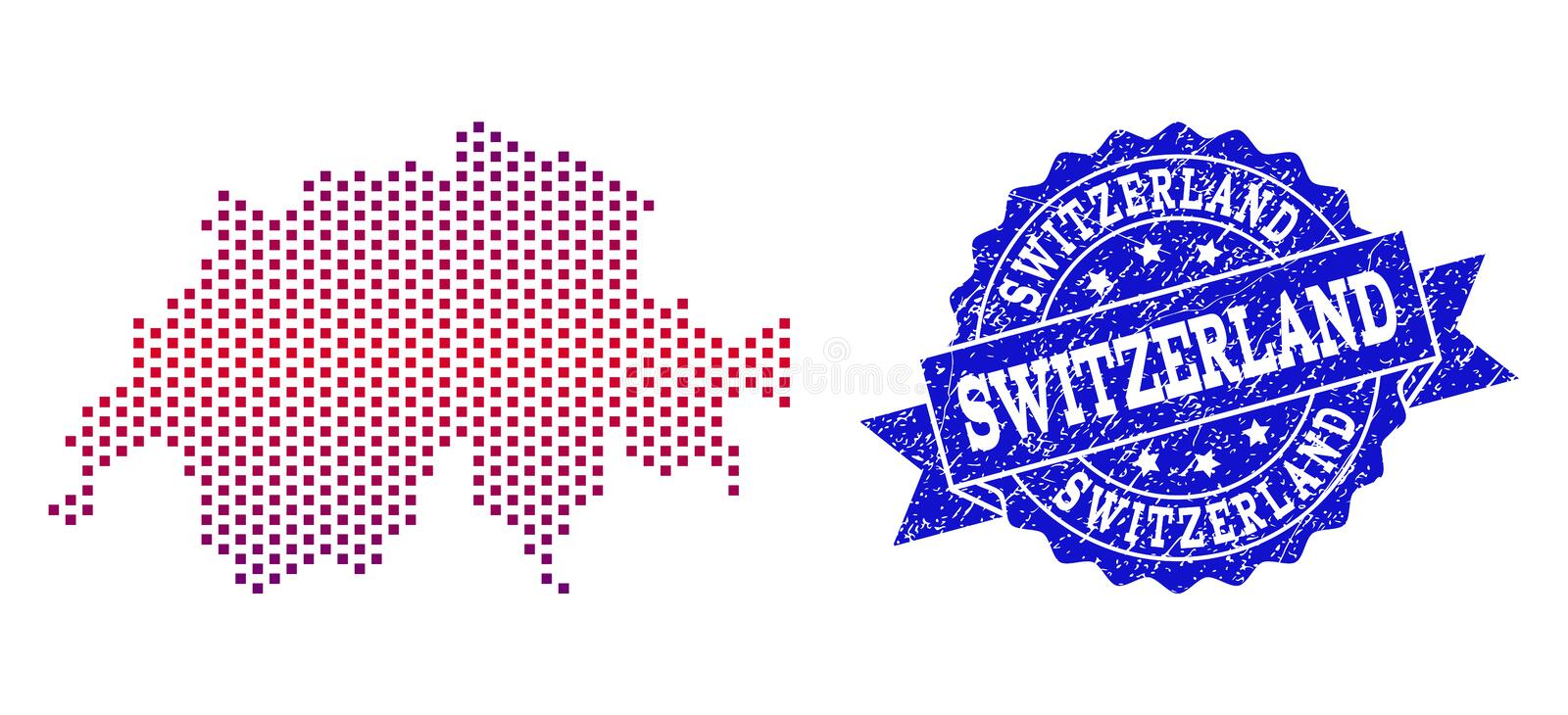 Collage of Gradiented Dotted Map of Switzerland and Grunged Stamp. Geographic combination of dotted map of Switzerland and grunge seal stamp. Mosaic vector map royalty free illustration