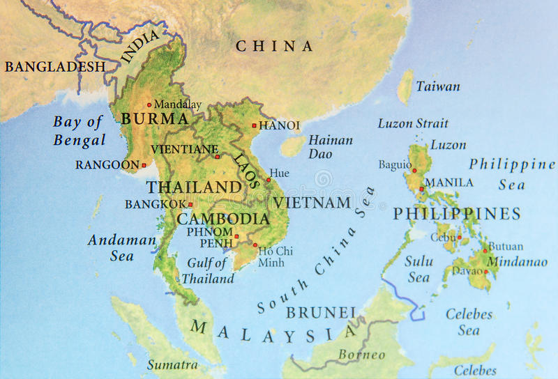 Geographic map of Burma, Thailand, Cambodia, Vietnam and Philippines with important cities. Close royalty free stock images