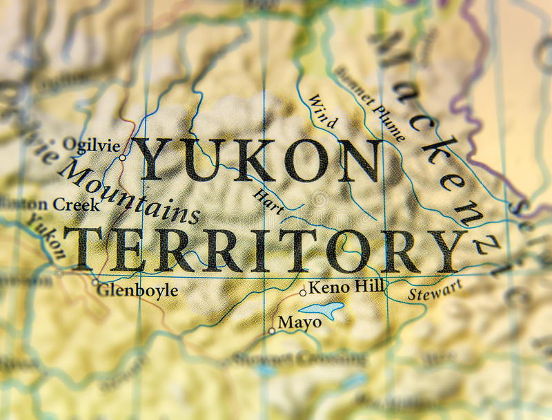 Geographic map of Canada state Yukon Territory with important cities royalty free stock images