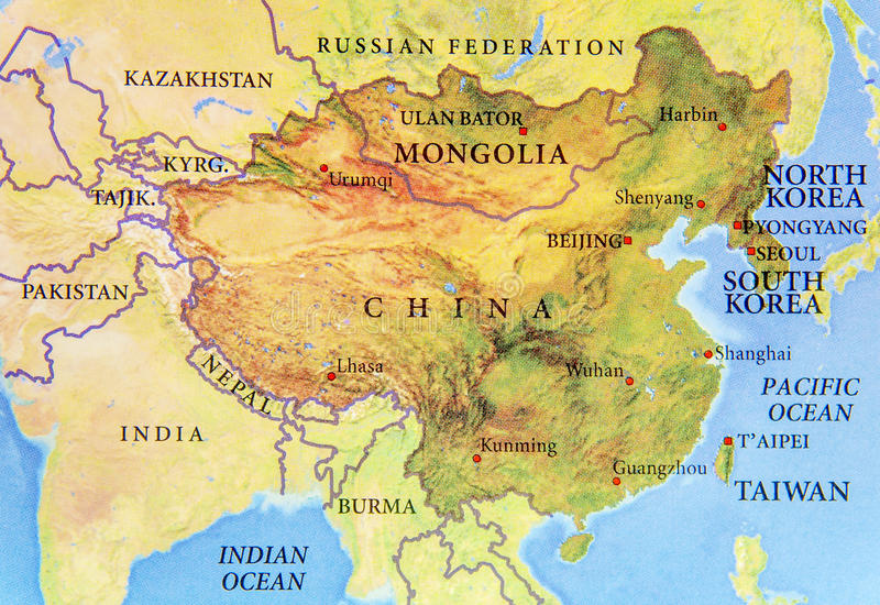 Geographic map of Chine, Mongolia, north Korea and South Korea with important cities stock photos
