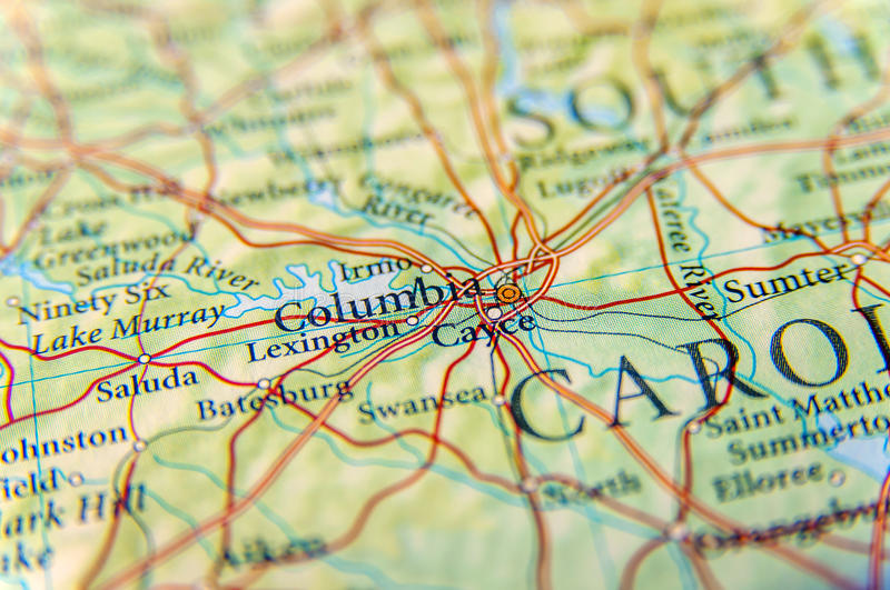 Geographic map of Columbia close royalty free stock photo