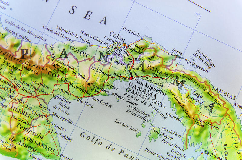 Geographic map of country Panama and Panama city. Close royalty free stock photo