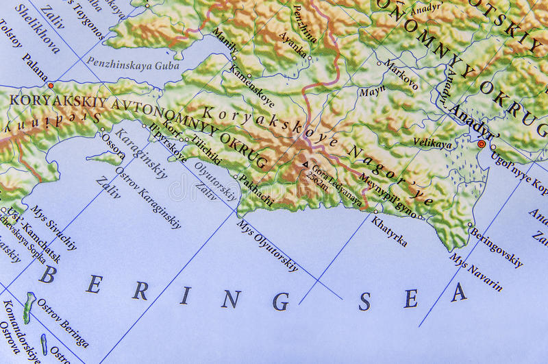 Geographic map of European Bering Sea stock photography