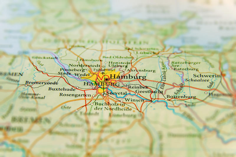 Geographic map of European country Germany with Hamburg city. Close stock images