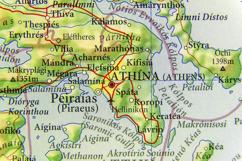 Geographic Map Of European Country Greece With Athens City Stock