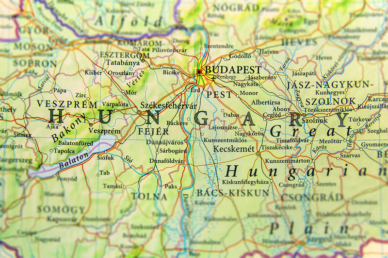Geographic Map Of European Country Hungary With Important Cities