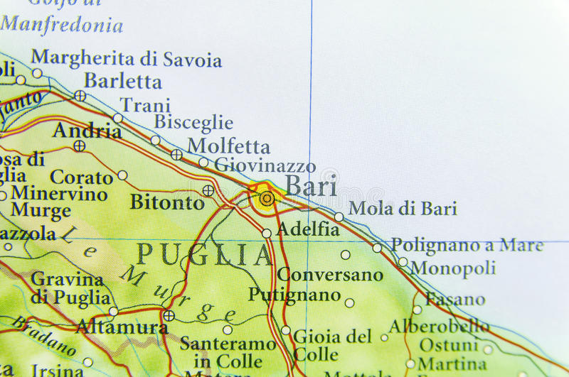 Geographic Map Of European Country Italy With Bari City Stock Image