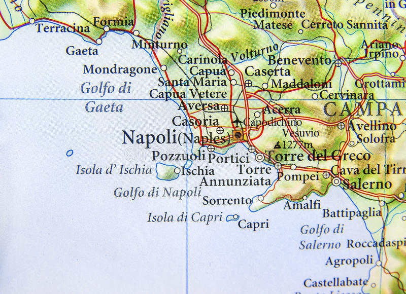 Geographic Map Of European Country Italy With Napoli City Stock