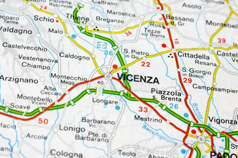 Geographic Map Of European Country Italy With Vicenza City Stock