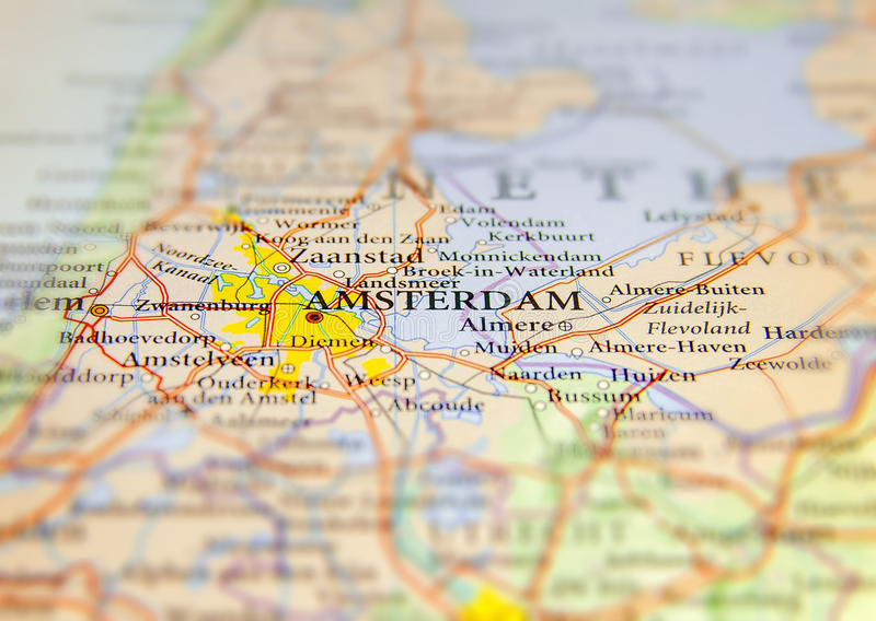Geographic map of European country Netherlands with Amsterdam capital city. Close royalty free stock photo