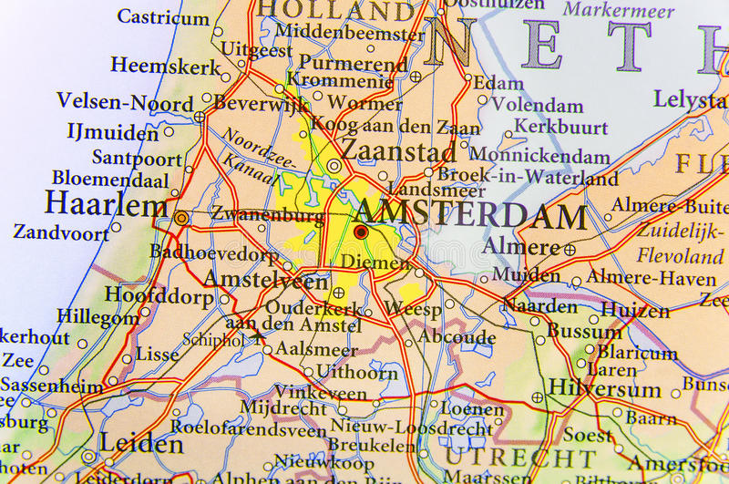 Geographic map of European country Netherlands with Amsterdam capital city. Close royalty free stock photography