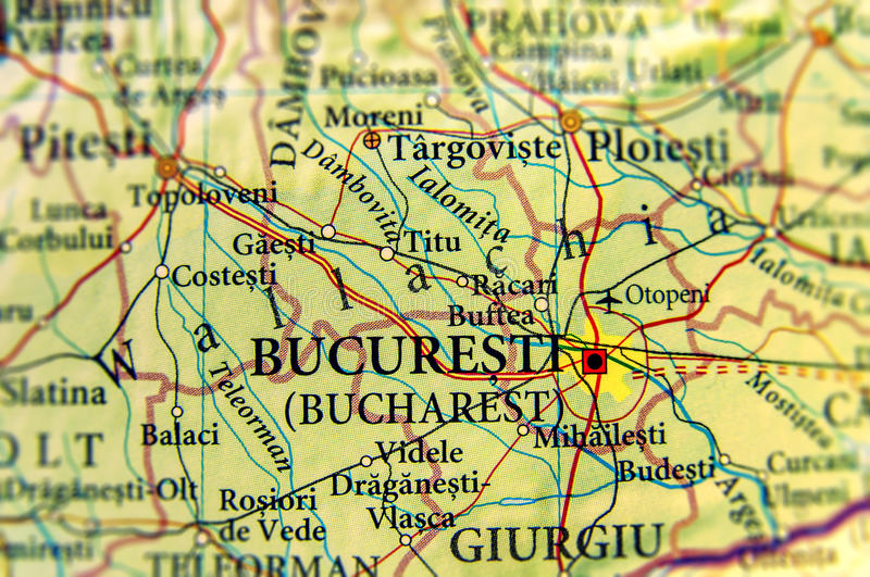 Geographic map of European country Romania with capital city Bucuresti royalty free stock photography