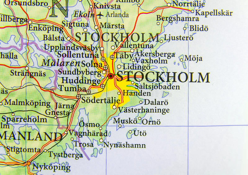 Geographic Map Of European Country Sweden With Capital City