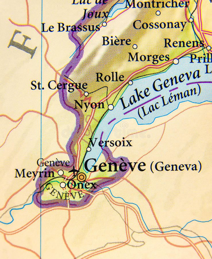 Geographic map of European country Switzerland with Geneva city. Close stock image