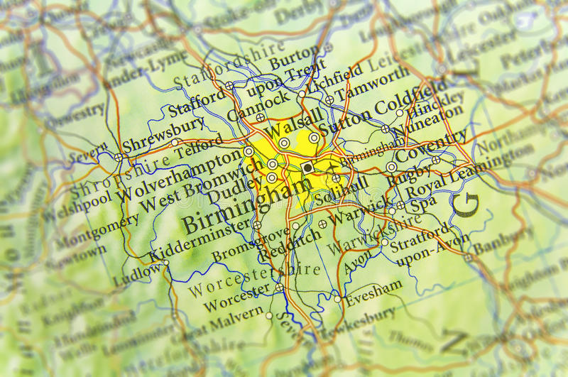 Geographic map of European country UK with Birmingham city. Close stock images