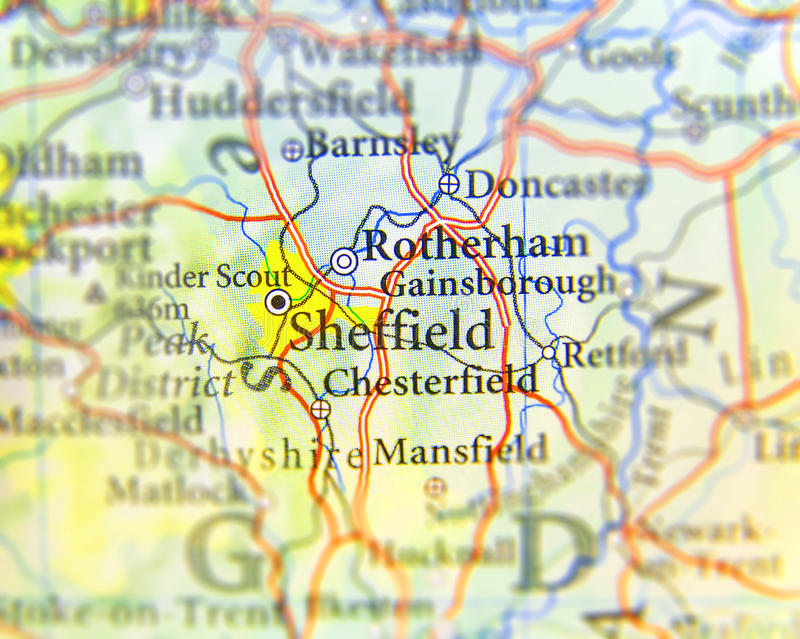 Geographic map of European country UK with Sheffield city stock image