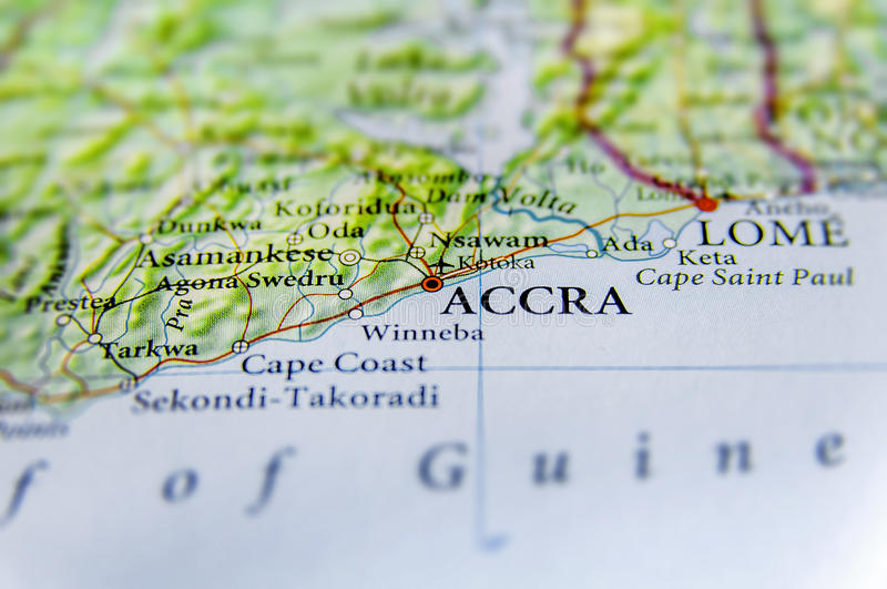 Geographic Map Of Ghana With Capital City Accra Stock Image Image