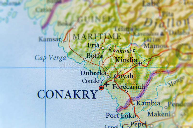 Geographic Map Of Guinea With Capital Conakry City Stock Photo