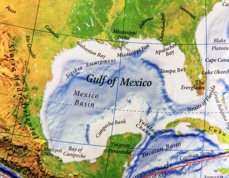 Geographic map of Gulf of Mexico in Mexico country royalty free stock photo