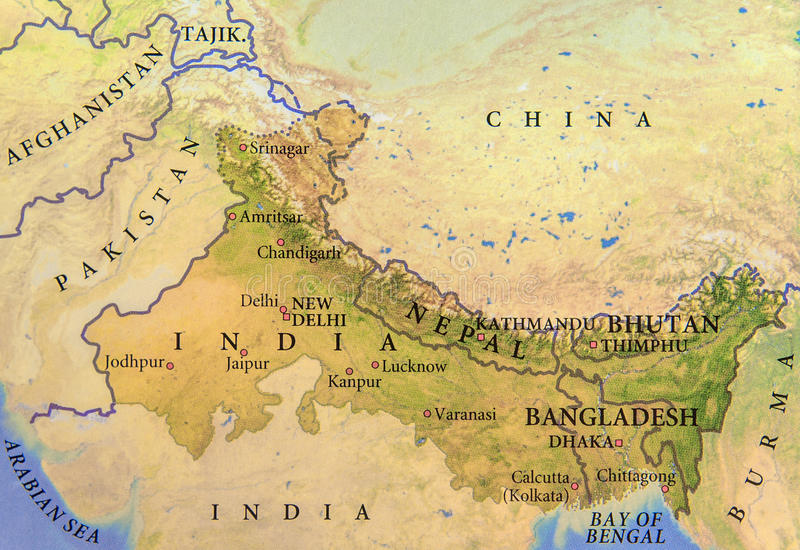 Geographic map of India, Nepal, Bhutan and Bangladesh with important cities. Close royalty free stock photo
