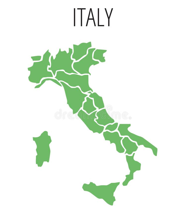 Geographic Map of Italy. On white transparent background stock illustration