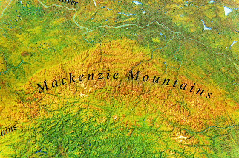 Geographic map of Mackenzie mountains in Canada country stock photos