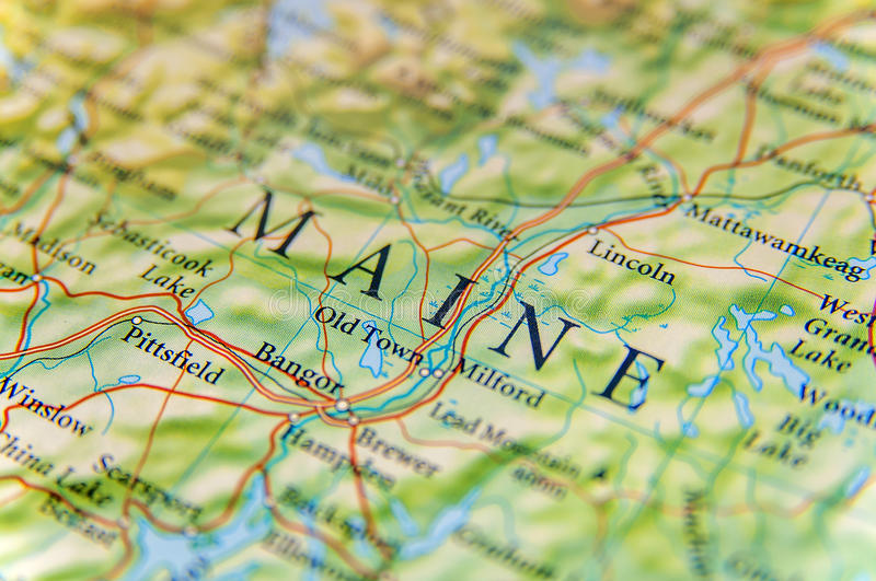 Geographic map of Maine close stock images