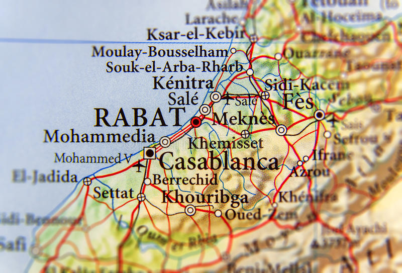 Geographic Map Of Morocco With Capital City Rabat Stock Image