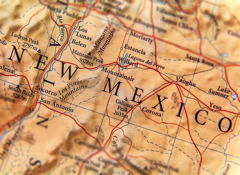 Geographic map of New Mexico state close stock photography