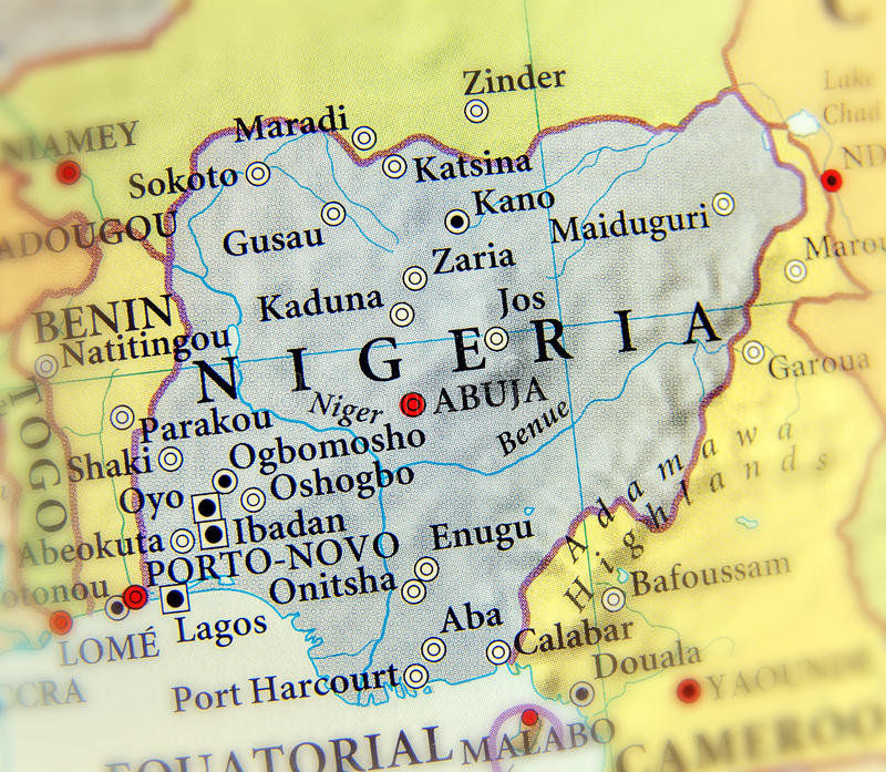 Geographic map of Nigeria with important cities. Close stock photo