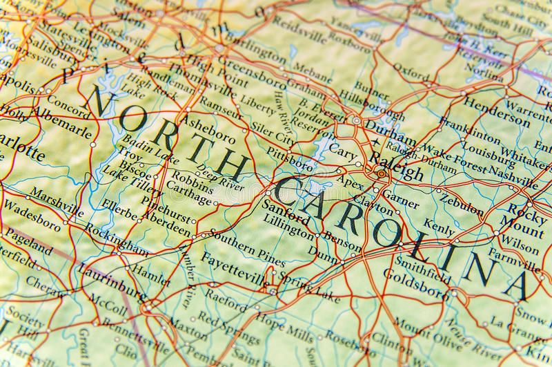 Geographic map of North Carolina close royalty free stock images
