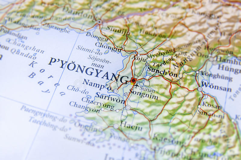 Geographic map of North Korea capital city Pyongyang stock image