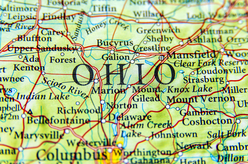 Geographic map of Ohio close. Up royalty free stock photography