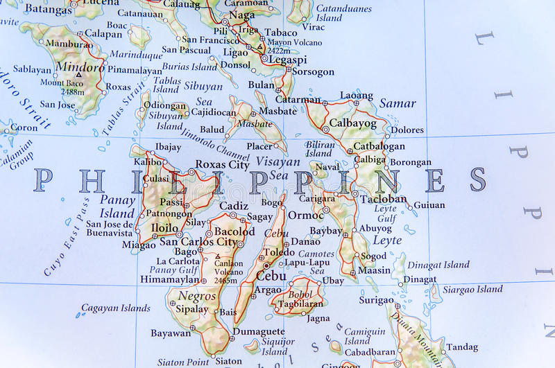 Geographic Map Of Philippines With Important Cities Stock Image