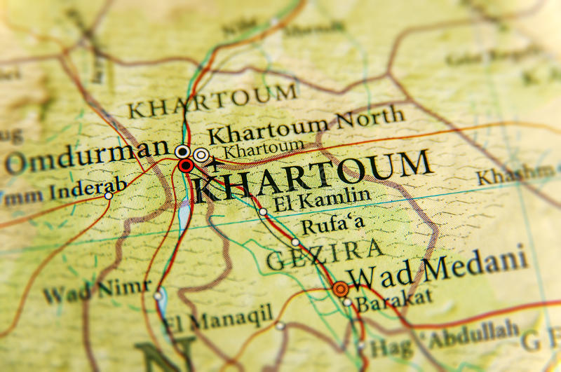 Geographic Map Of Sudan With Capital City Khartoum Stock Image
