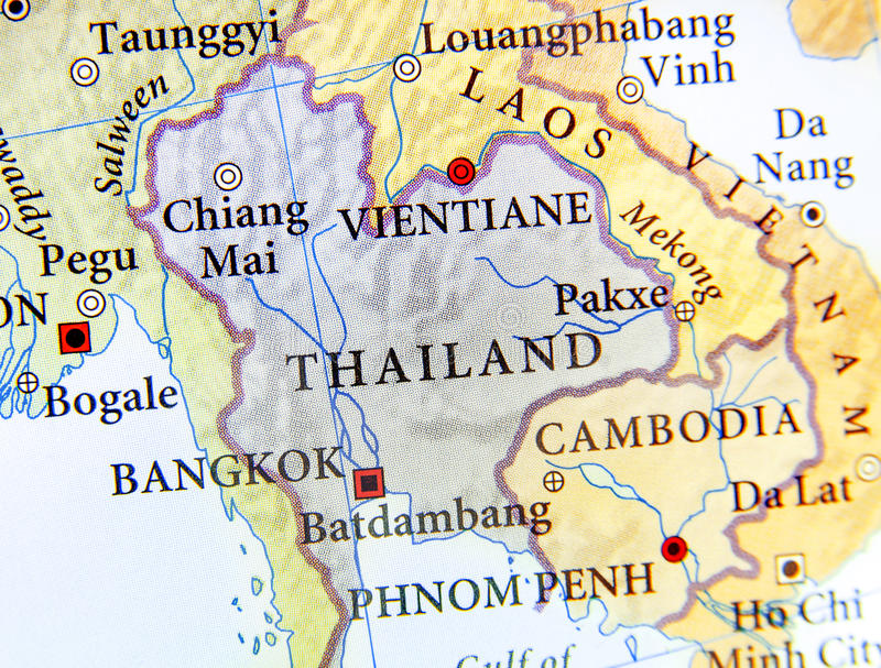 Geographic Map Of Thailand With Important Cities Stock Image - Map of thailand cities