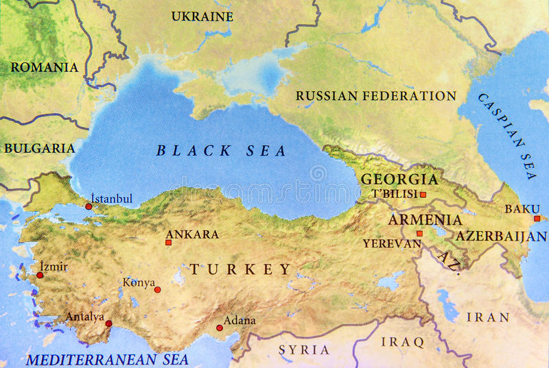 Geographic map of Turkey with important cities and Black sea royalty free stock image