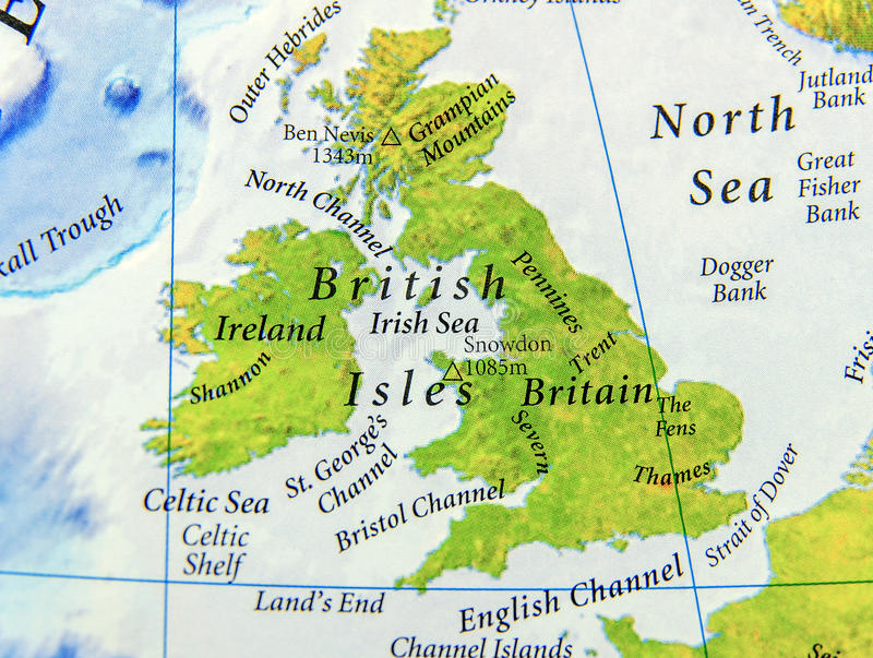 Geographic map of United Kingdom close. Up stock photo