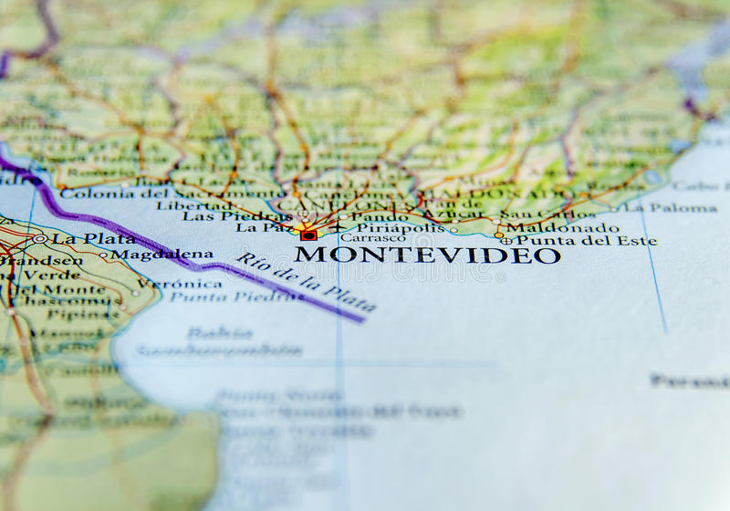 Geographic Map Of Uruguay With Montevideo Capital City Stock Photo - Montevideo map