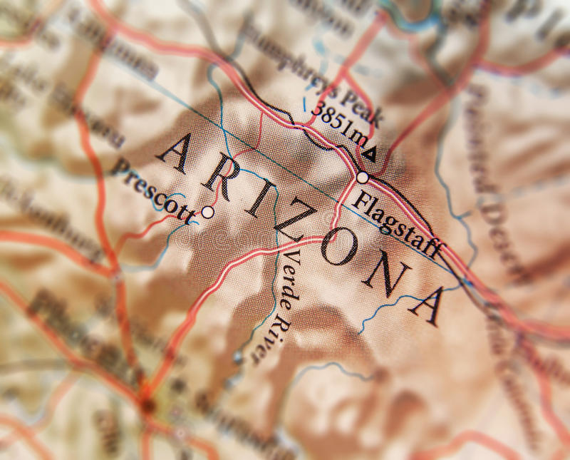 Geographic map of US state Arizona with important cities stock photography