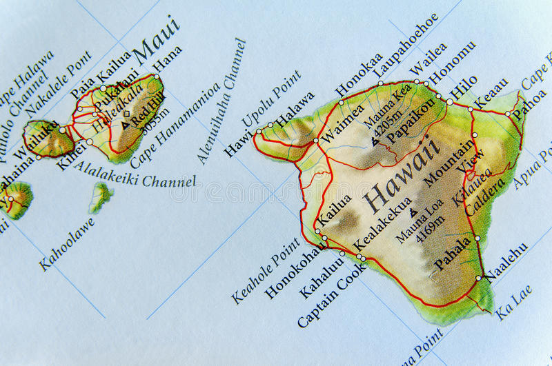 Geographic Map Of US State Hawaii And Important Cities Stock Photo